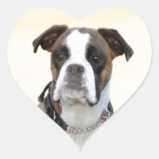 Benson the Boxer dog Heart Sticker