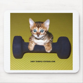 Bental Kitten with Dumbbell Yellow Mousepad