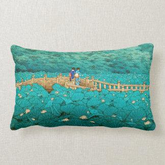 Benten Pond at Shiba Kawase Hasui japanese scenery Pillows
