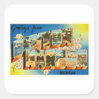 Benton Harbor Michigan MI Vintage Travel Souvenir Square Sticker