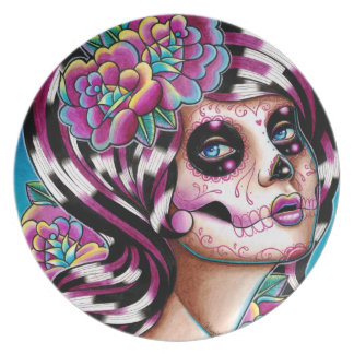 Benumbed Day of the Dead Girl Party Plates