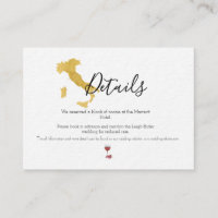 Benvenuti Italia Wedding Details Card