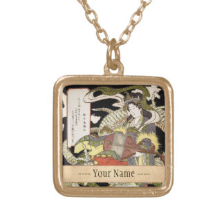 Benzaiten (Goddess of Beauty) Seated on a Dragon Gold Plated Necklace