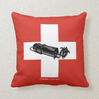 Benzinbrenner Swiss flag Throw Pillow
