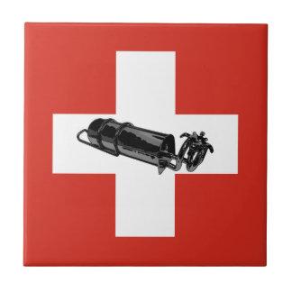 Benzinbrenner Swiss flag Tile