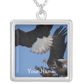BEOAT Bald Eagles on a Treetop Square Pendant Necklace