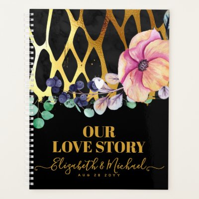 BEORGANIZED Our Love Story Leopard Print Gold Planner