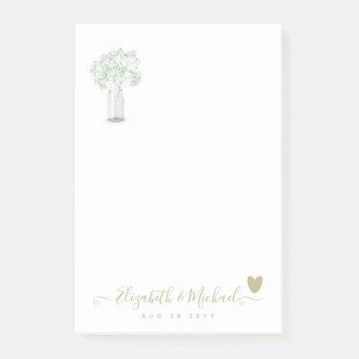 BEORGANIZED WEDDING PLANNER Gypsophila Gold Heart Post-it Notes