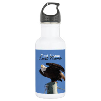 BEOUP Bald Eagle on Utility Pole 18oz Water Bottle