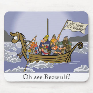 Beowulf Sailing to Denmark Mousepad