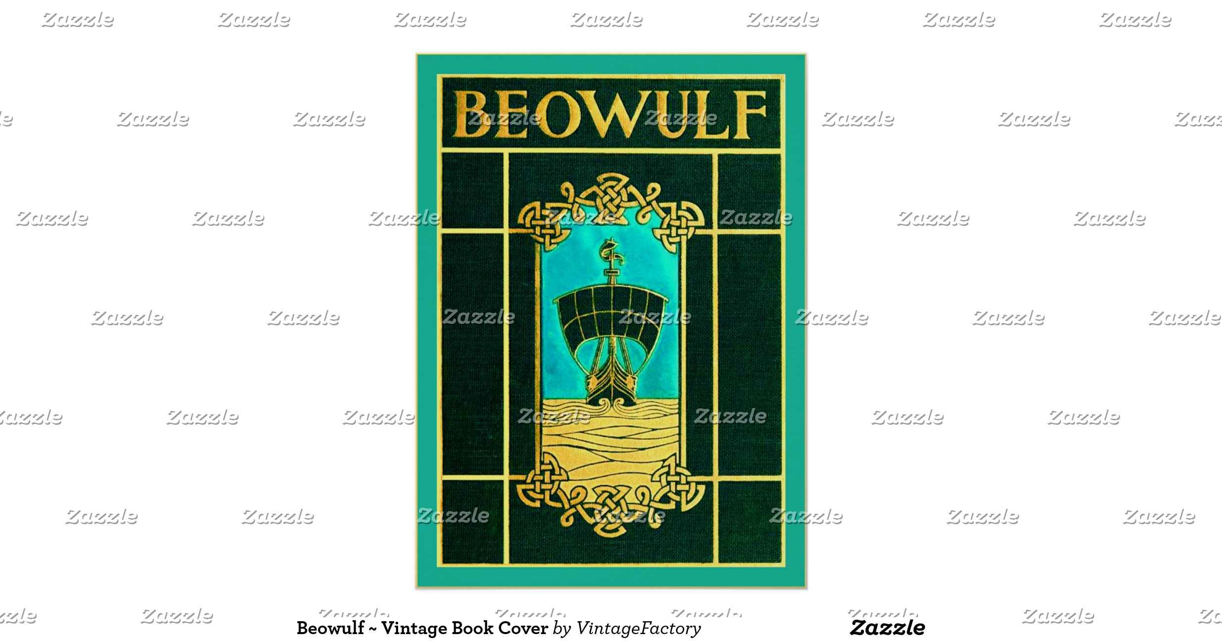 Old Book Cover Posters : Beowulf vintage book cover poster