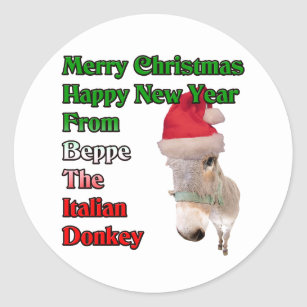 beppe the italian christmas donkey classic round sticker - The Italian Christmas Donkey