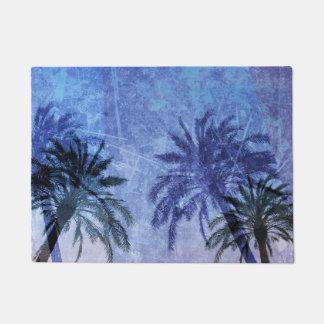 Bercelona Blue Palm tree Grunge Digital Art Design Doormat