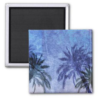Bercelona Blue Palm tree Grunge Digital Art Design Magnet