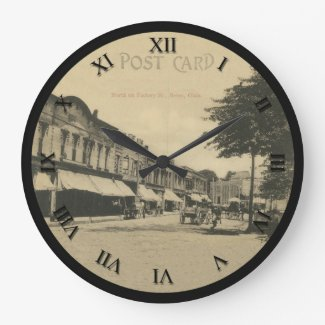 Berea, Ohio Post Card Clock - Factory St 1908