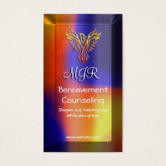 Bereavement Counselor with Monogram, Phoenix logo Business Card