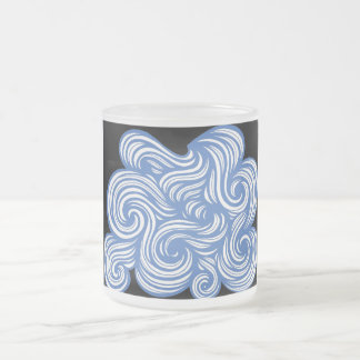 Berends Abstract Expression Blue White 10 Oz Frosted Glass Coffee Mug