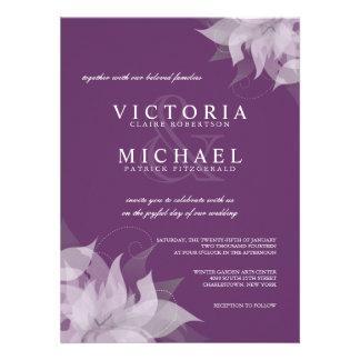 Berenjena e invitaciones florales blancas del boda comunicado personal