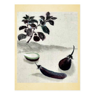 Berenjenas con la planta que crece en el fondo Uki Tarjeta Postal