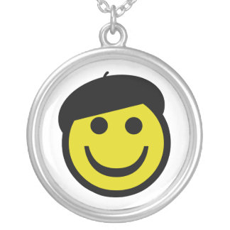 Beret Smiley Silver Plated Necklace