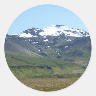 Berg in Island Runde Sticker