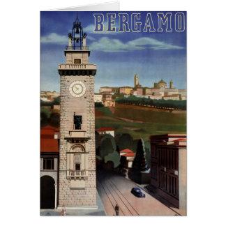 Bergamo Vintage Travel Poster Restored Card