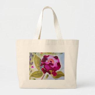 Bergandy Flower Large Tote Bag
