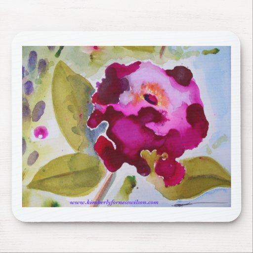 Bergandy Flower Mouse Pad