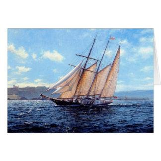Bergantín en el mar tarjeta de felicitación