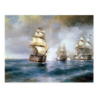 Bergantín Mercury atacado por dos naves turcas Postales