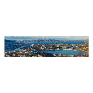 Bergen City Centre Norway Panorama Poster