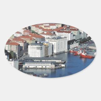 Bergen, Noruega Pegatina Ovalada