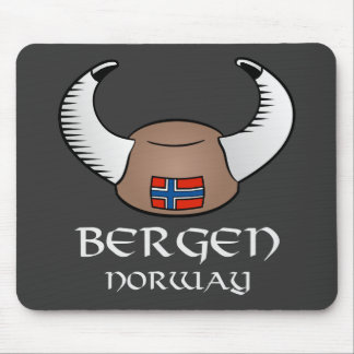 Bergen Norway Viking Hat Mouse Pad