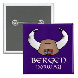 Bergen Norway Viking Hat Pinback Button