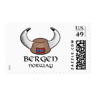 Bergen Norway Viking Hat Postage Stamps