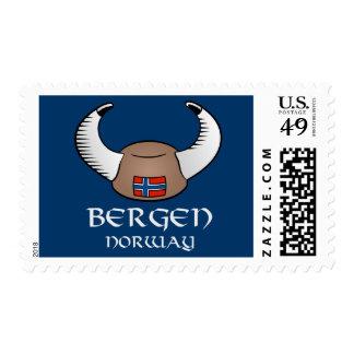 Bergen Norway Viking Hat Stamp