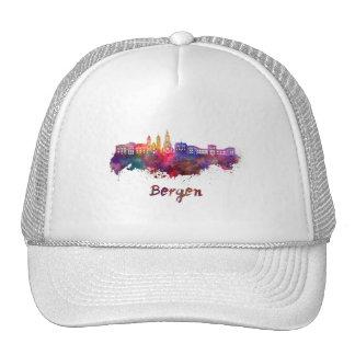 Bergen skyline in watercolor trucker hat