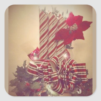 Beribboned Holiday Candle Square Sticker