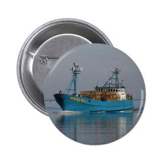 Bering Sea, Crab Boat in Dutch Harbor, AK Button