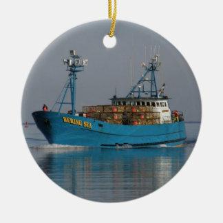 Bering Sea, Crab Boat in Dutch Harbor, AK Ceramic Ornament