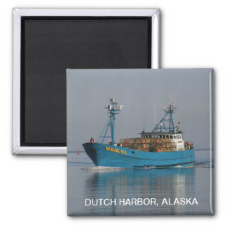 Bering Sea, Crab Boat in Dutch Harbor, AK 2 Inch Square Magnet