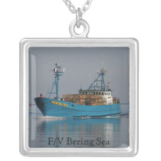Bering Sea, Crab Boat in Dutch Harbor, AK Square Pendant Necklace