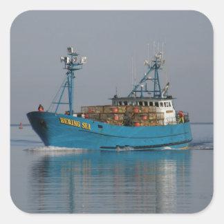 Bering Sea, Crab Boat in Dutch Harbor, AK Stickers