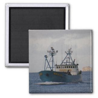 Bering Sea, Crab Boat in Dutch Harbor, Alaska 2 Inch Square Magnet