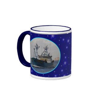 Bering Sea, Crab Boat in Dutch Harbor, Alaska Ringer Mug