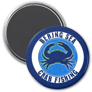 Bering Sea Crab Fishing 3 Inch Round Magnet