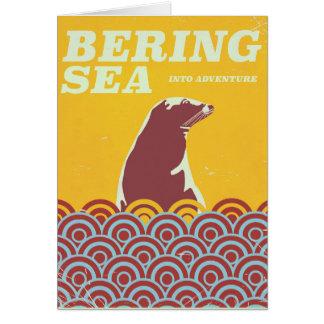 Bering Sea vintage style 1970s adventure poster Card
