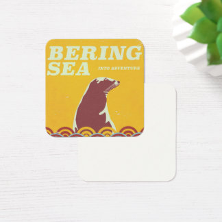 Bering Sea vintage style 1970s adventure poster Square Business Card