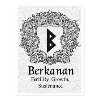 Berkanan Rune /Fertility / White Version Postcard