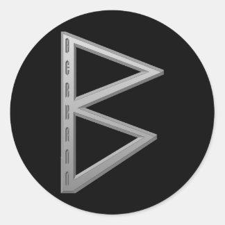 Berkano Rune grey Classic Round Sticker